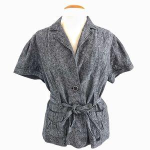 Tribal belted linen /cotton blend blazer Sz 2
